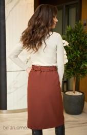 Костюм с юбкой 911 коричневый Анастасия Мак