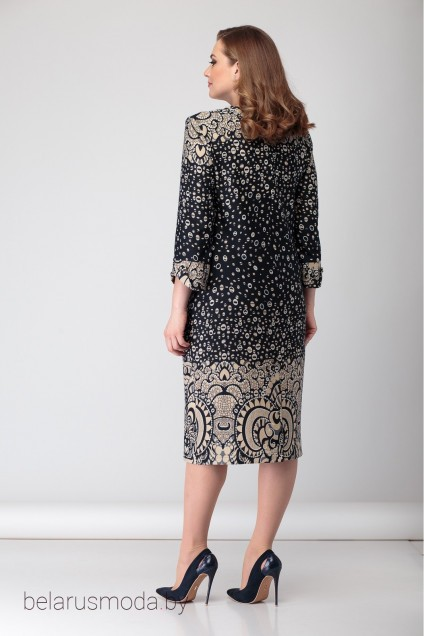 Платье 1876 бежевый+черный. Багряница