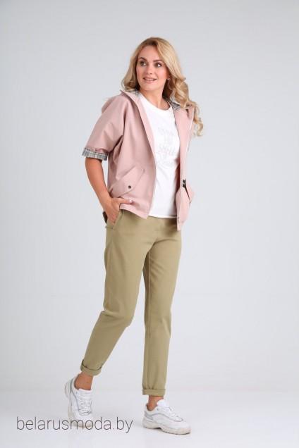 Костюм брючный 2024 розовый + хакки Danaida