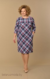 Платье Lady Style Classic, модель 1234-1 сине-черно-сиреневый+клетка