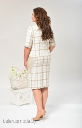 Костюм с юбкой 1284 белый+бежевый Lady Style Classic