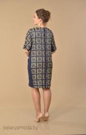 Платье Lady Style Classic, модель 1474 синий+ромашка