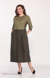 Платье 1681-3 зеленый+горох Lady Style Classic