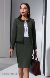 Костюм с юбкой 3240-1 зеленый + белый Lissana