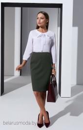 Костюм с юбкой 3240 зеленый + белый Lissana