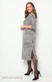 Платье 2069 серый + принт Michel Chic