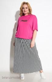 Костюм с юбкой 1231 розовый Michel Chic