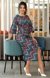 Платье 2539 бирюза+бордо Мода-Юрс