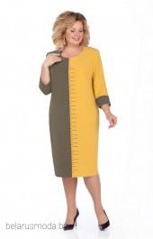 Платье Pretty, модель 930 хаки+желтый