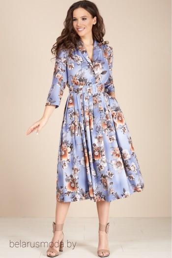 1425 голубой+цветы