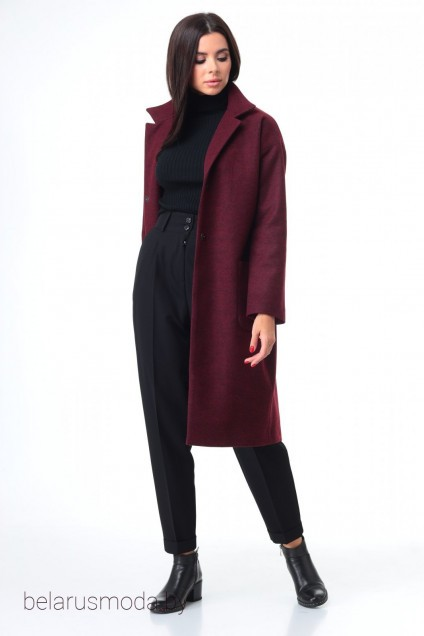 Костюм брючный+пальто 7085 бордо + черный Tender and nice