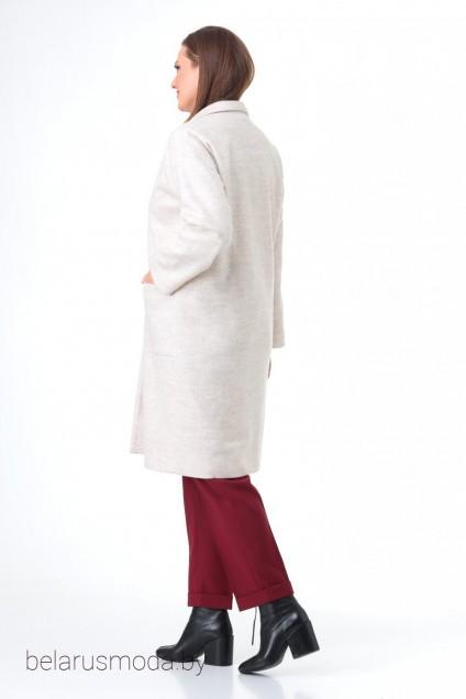 Костюм брючный+пальто 7085 жемчуг + бордо Tender and nice