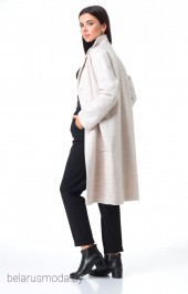 Костюм брючный+пальто 7085 жемчуг + черный Tender and nice